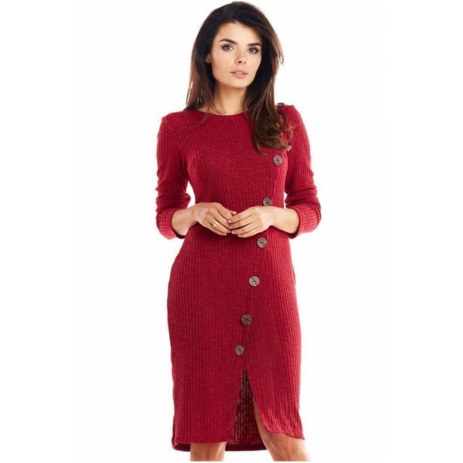 Dámske priliehavé šaty s gombíkmi v bordovej farbe