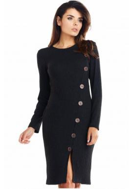 Čierne priliehavé šaty s gombíkmi pre dámy