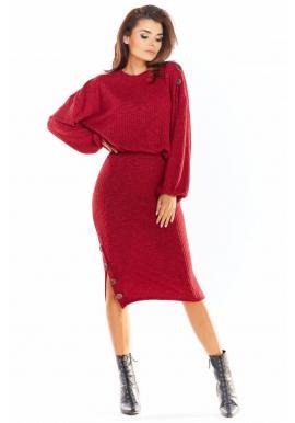 Ceruzková dámska sukňa bordovej farby s ozdobnými gombíkmi