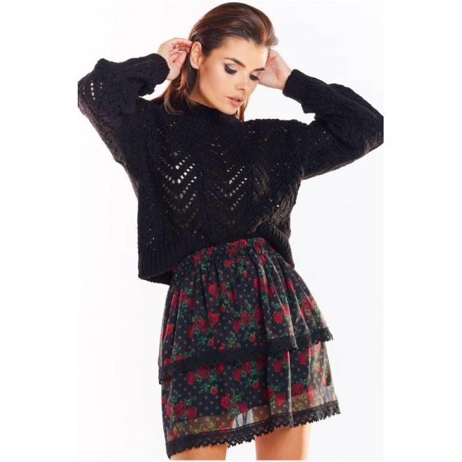 Kvetovaná dámska sukňa čiernej farby s čipkou