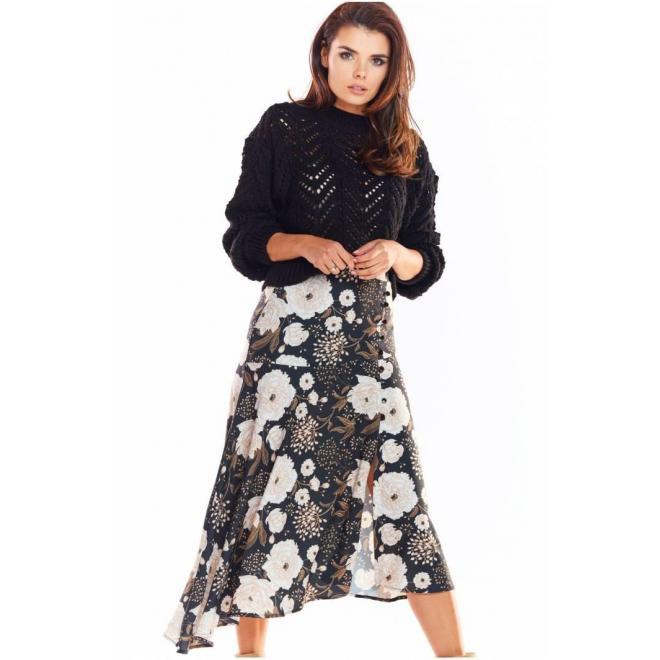 Čierna asymetrická sukňa s kvetovanou potlačou pre dámy