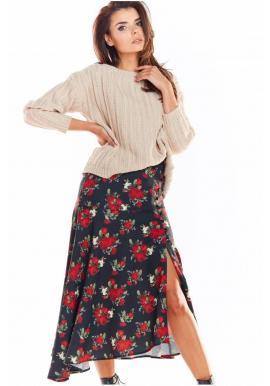 Asymetrická dámska sukňa čiernej farby s kvetovanou potlačou