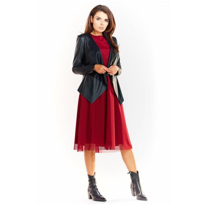 Elegantné dámske sako čiernej farby z ekokože