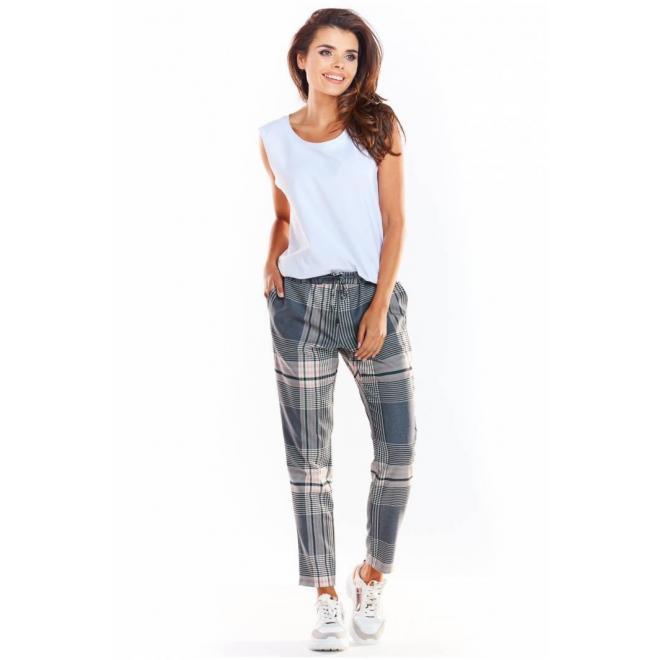 Farebné vzorované nohavice s elastickým pásom pre dámy