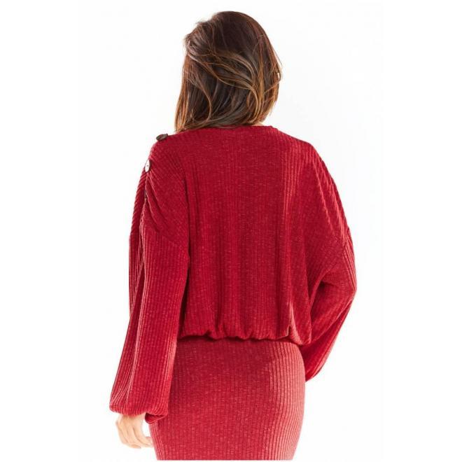 Dámsky oversize sveter s kimono rukávmi v bordovej farbe