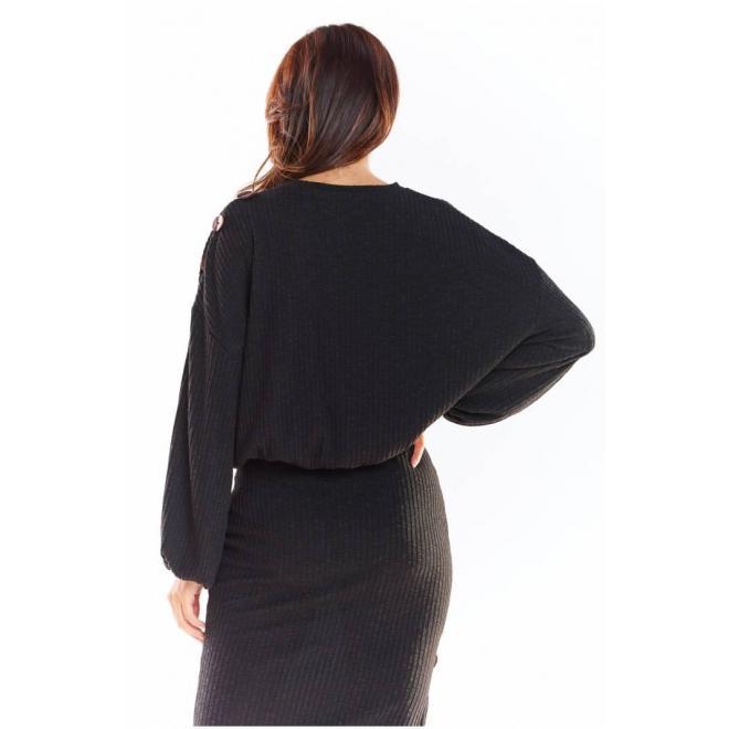 Čierny oversize sveter s kimono rukávmi pre dámy