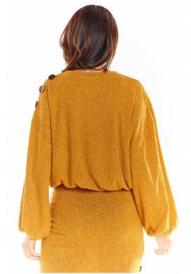 Oversize dámsky sveter ťavej farby s kimono rukávmi