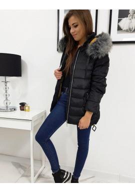 Čierna prešívaná bunda s odopínacou kapucňou pre dámy