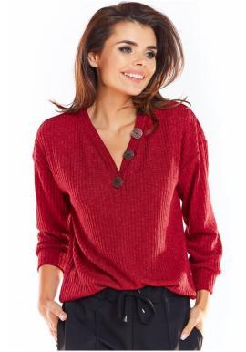 Bordový pohodlný sveter s ozdobnými gombíkmi pre dámy