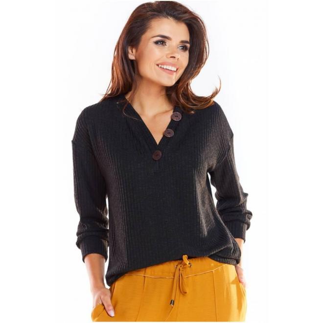 Pohodlný dámsky sveter čiernej farby s ozdobnými gombíkmi