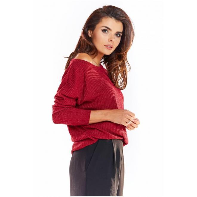 Bordový klasický sveter s dlhým rukávom pre dámy