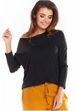 Klasické dámske svetre čiernej farby s dlhým rukávom