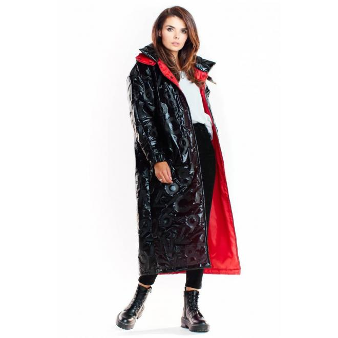 Čierny dlhý plášť s oversize strihom pre dámy