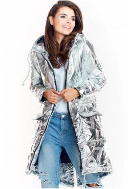 Strieborná oversize bunda s veľkou kapucňou pre dámy