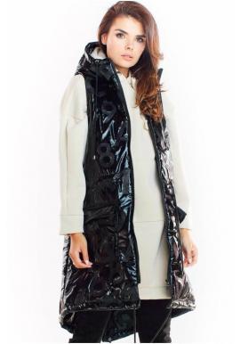 Dámska lesklá vesta s kapucňou v čiernej farbe