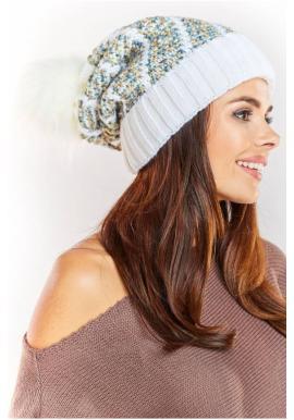 Dámska teplá čiapka s kožušinovým pompónom v bielej farbe