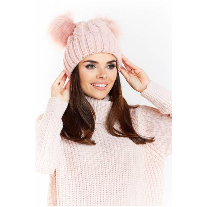 Dámska teplá čiapka s dvomi pompónmi v ružovej farbe