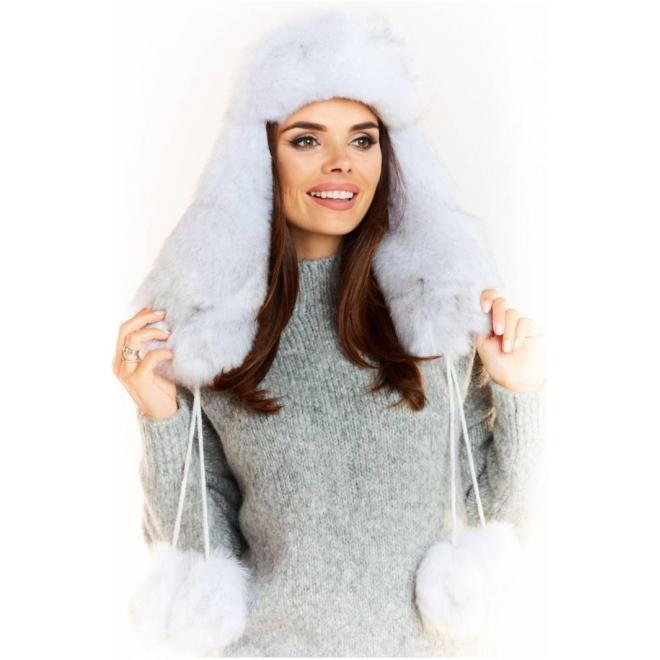 Biela teplá čiapka pre dámy