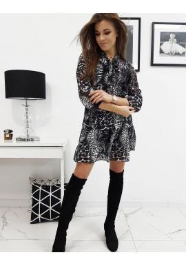 Sivé módne šaty s leopardím vzorom pre dámy