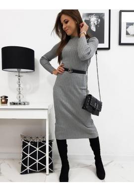 Svetrové dámske šaty sivej farby s dlhým rukávom