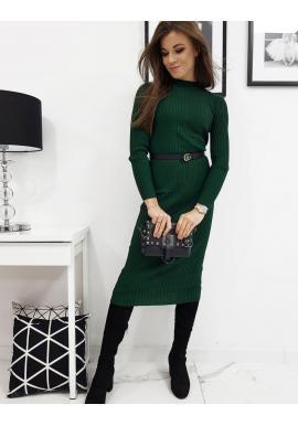 Dámske svetrové šaty s dlhým rukávom v zelenej farbe