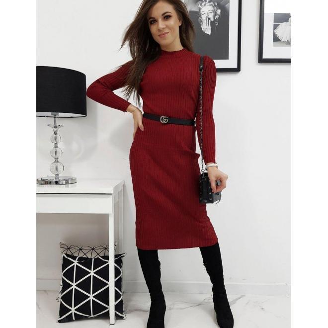 Bordové svetrové šaty s dlhým rukávom pre dámy