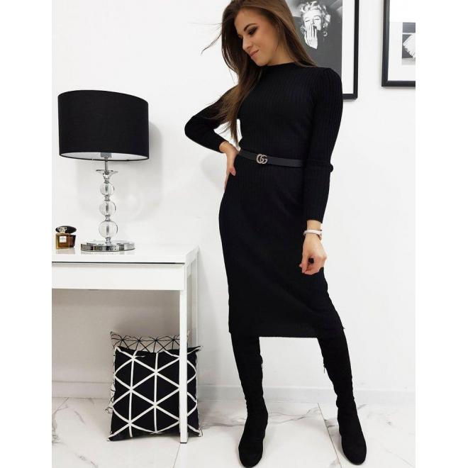 Svetrové dámske šaty čiernej farby s dlhým rukávom