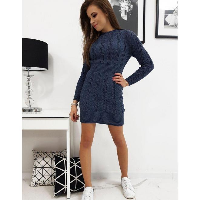 Dámske svetrové šaty s dlhým rukávom v modrej farbe