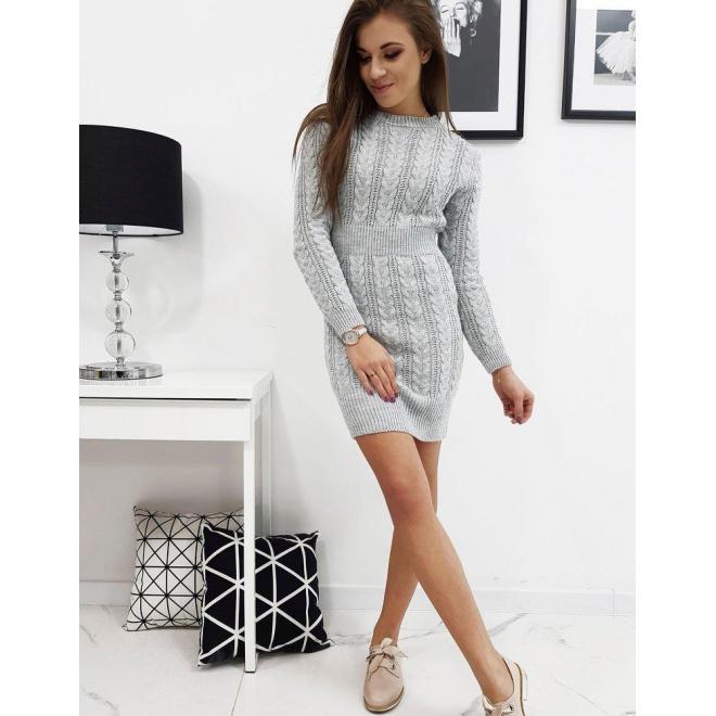 Sivé svetrové šaty s dlhým rukávom pre dámy
