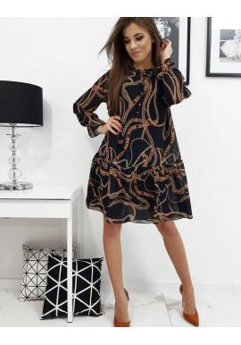 Vzorované dámske šaty čiernej farby s volánom