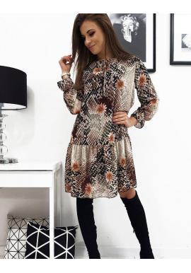 Dámske vzorované šaty s volánom v béžovo-čiernej farbe