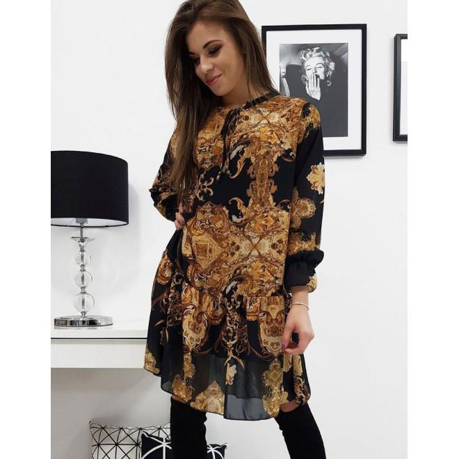 Čierne vzorované šaty s volánom pre dámy