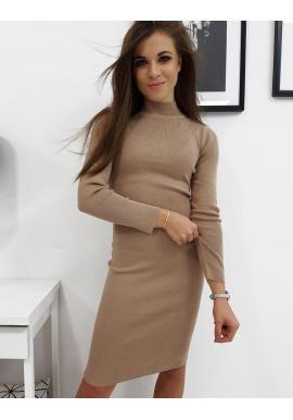 Svetrové dámske šaty béžovej farby s rolákom