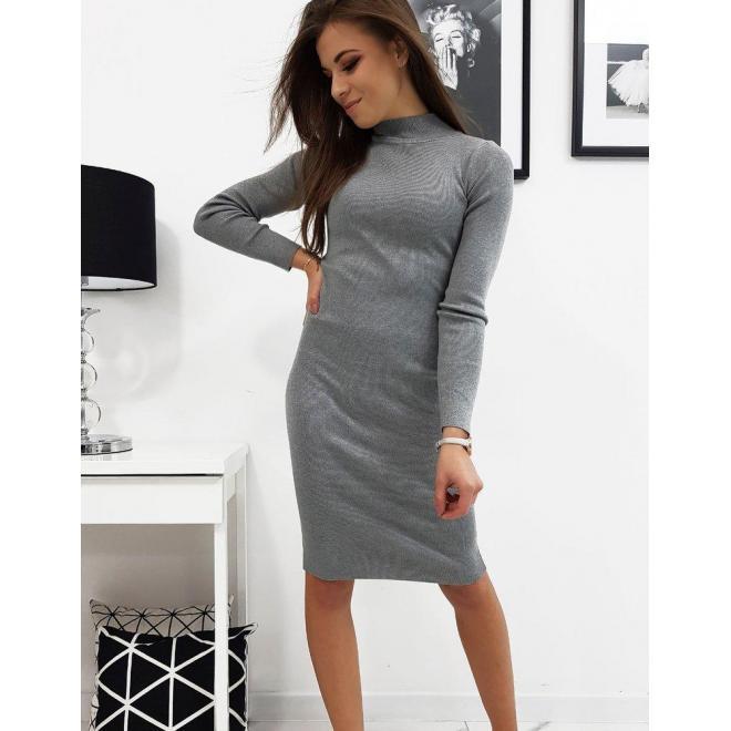 Dámske svetrové šaty s rolákom v sivej farbe