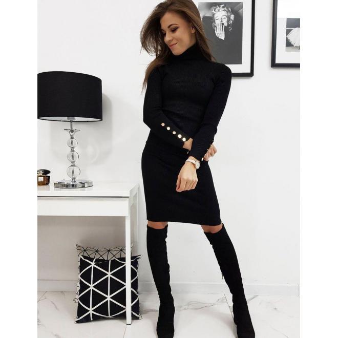 Čierne svetrové šaty s rolákom pre dámy