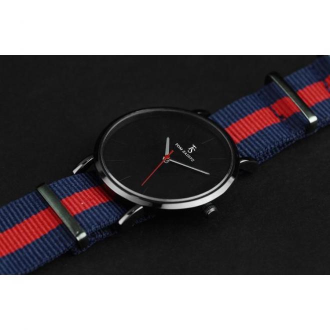 Pánske módne hodinky na textilnom remienku v modro-červenej farbe