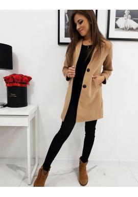 Hnedý jednoradový kabát pre dámy v zľave