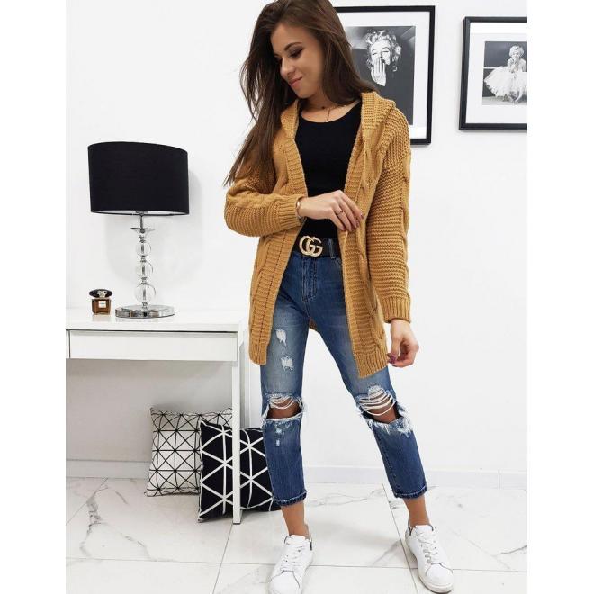 Dámsky štýlový sveter s kapucňou v hnedej farbe