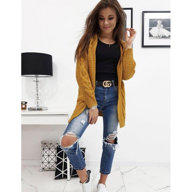 Horčicový štýlový sveter s kapucňou pre dámy