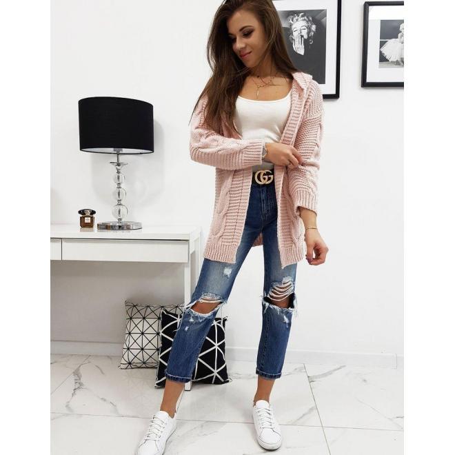 Štýlový dámsky sveter ružovej farby s kapucňou