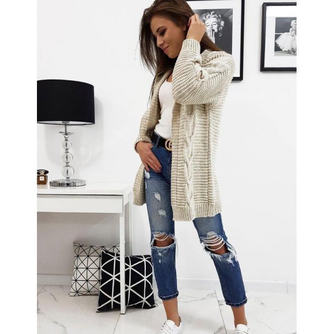 Dámsky štýlový sveter s kapucňou v béžovej farbe
