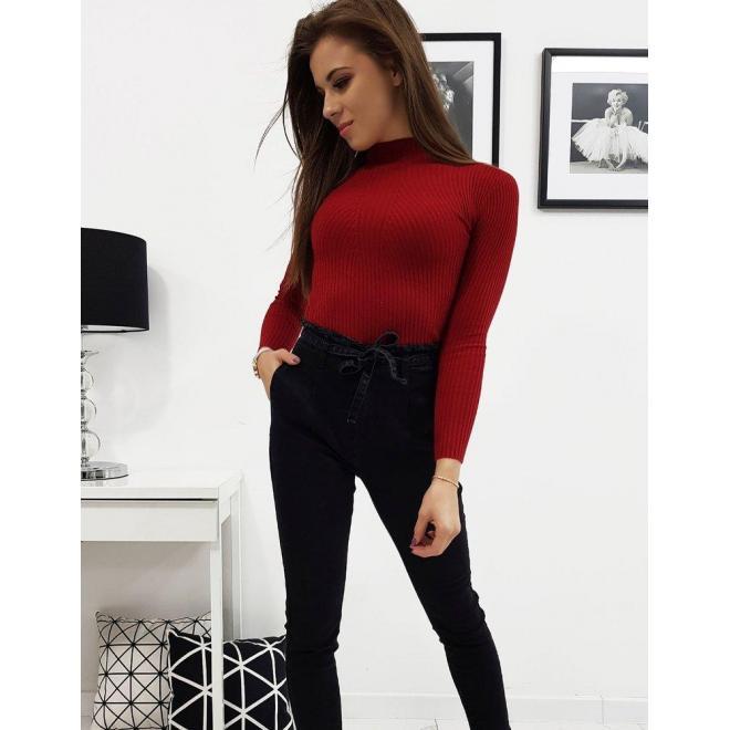 Dámsky bavlnený sveter s polrolákom v bordovej farbe