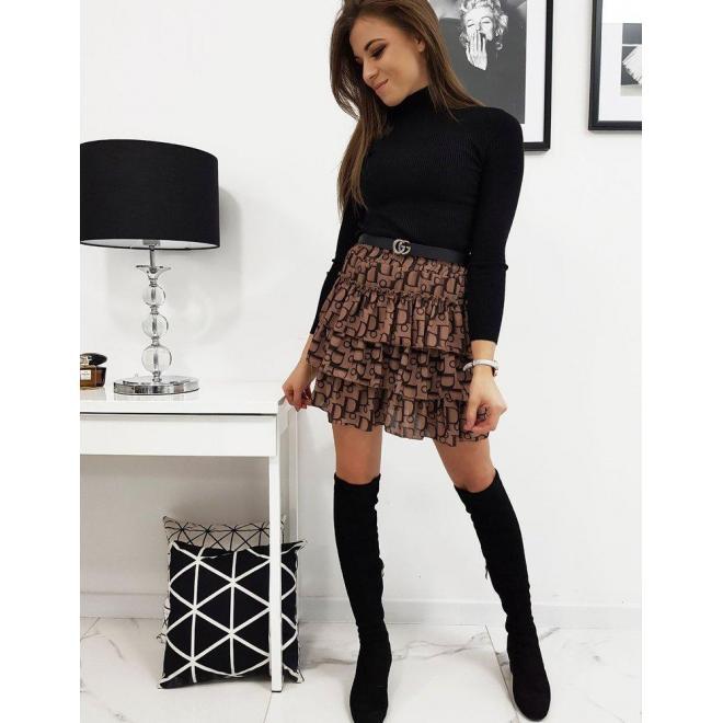 Hnedá vzorovaná sukňa s volánmi pre dámy
