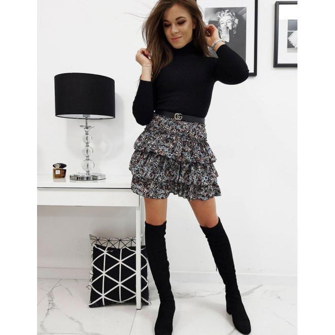 Čierna kvetovaná sukňa s volánmi pre dámy