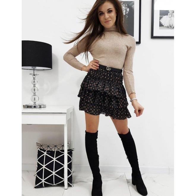 Vzorovaná dámska sukňa čiernej farby s volánmi