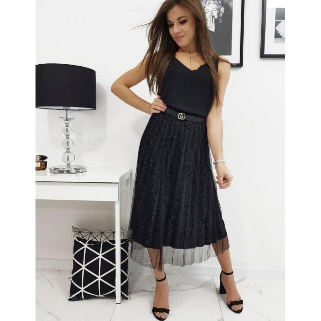 Dámska plisovaná sukňa s dvomi vrstvami v čiernej farbe