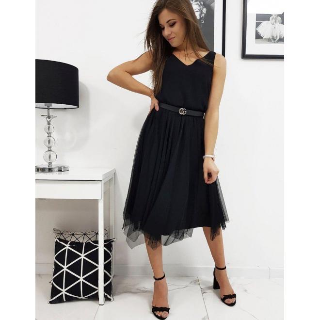Obojstranná dámska sukňa čiernej farby s trblietkami