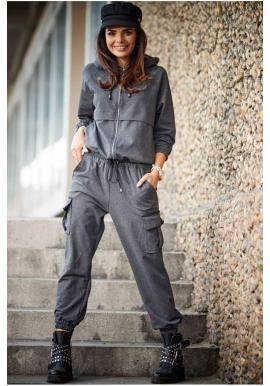 Tmavosivé voľné nohavice s elastickým pásom pre dámy
