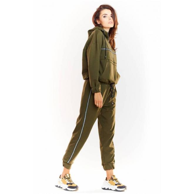 Kaki športové nohavice s elastickým pásom pre dámy
