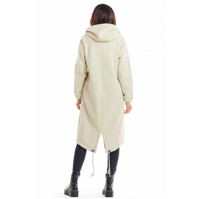 Teplá dlhá mikina béžovej farby s kapucňou
